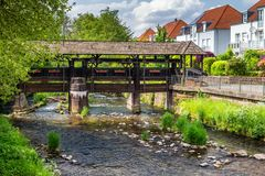 Cityscape by the river Alb in Ettlingen, Black Forest, Baden-Wur Stock Photography