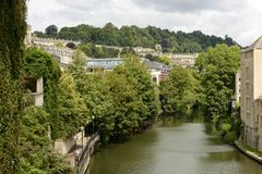 Cityscape with river Avon, Bath Royalty Free Stock Photo
