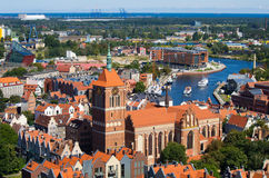 Cityscape with river, Gdansk, Poland Stock Image