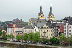 Cityscape from river Moselle in Koblenz, Germany Royalty Free Stock Photography