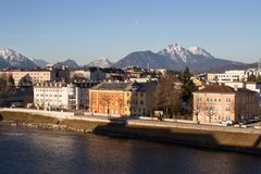 Cityscape at the river Salzach in Salzburg, Austria, 2015 Royalty Free Stock Image