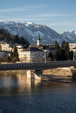 Cityscape at the river Salzach in Salzburg, Austria, 2015 Stock Photography
