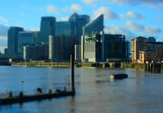 Canary Wharf from River Thames Royalty Free Stock Photo