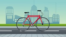 Cityscape and road with bicycle animation