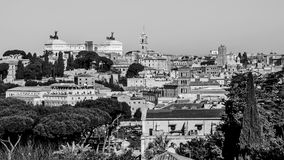 Cityscape of Rome in black and white Royalty Free Stock Image