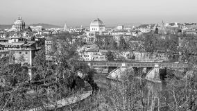 Cityscape of Rome in black and white Stock Photography
