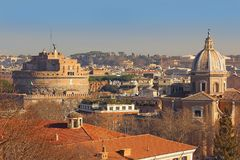 Cityscape of the Rome from the height of the Janiculum Hill Royalty Free Stock Images