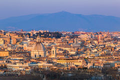 Cityscape of Rome, Italy, at sunset in autumn, a view from the Gianicolo Janiculum hill. Cityscape of Rome, Italy, at sunset in autumn, a view from the Gianicolo Royalty Free Stock Images