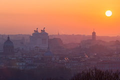 Cityscape of Rome, Italy, at sunset in autumn, a view from the Gianicolo Janiculum hill. Cityscape of Rome, Italy, at sunset in autumn, a view from the Gianicolo Royalty Free Stock Photography
