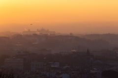 Cityscape of Rome, Italy, at sunset in autumn, a view from the Gianicolo Janiculum hill. Cityscape of Rome, Italy, at sunset in autumn, a view from the Gianicolo Royalty Free Stock Photo
