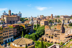 Cityscape of Rome in Italy, view on the Roman Forum Royalty Free Stock Photography