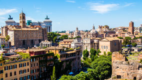 Cityscape of Rome in Italy, view on the Roman Forum Royalty Free Stock Image