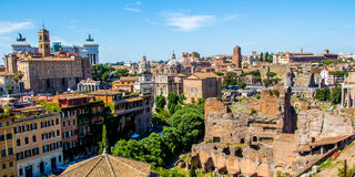 Cityscape of Rome in Italy, view on the Roman Forum Royalty Free Stock Images