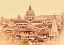 Cityscape of the Rome. Retro style Stock Images