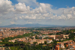 Cityscape of Rome with skyline and mountain range Stock Photo