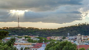 Cityscape of Rome timelapse under a dramatic sky as seen from the Pincio hill, Italy. Top view with rays of sun stock video