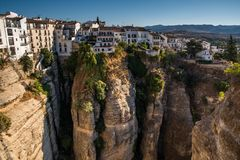 ONDA, ANDALUSIA / SPAIN - OCTOBER 08 2017: VIEW ON RONDA AND CANYON. Cityscape of Ronda city in Andalusia Spain Stock Images