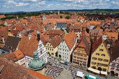 Cityscape from rothenburg town hall tower Stock Photo