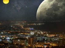 Cityscape in ruimte Royalty-vrije Stock Afbeelding