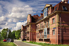Cityscape Russia cottages housesin small town Stock Photo