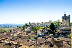 Cityscape of Saint-Emilion near Bordeaux, France. Cityscape of Saint-Emilion near Bordeaux in France with a panoramic view of the vineyard royalty free stock photo