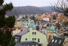 Cityscape of Karlovy Vary with Saint Mary Magdalene church. Cityscape with Saint Mary Magdalene church Karlovy Vary. Famous Czech Spa Karlovy Vary Karlsbad in stock photo