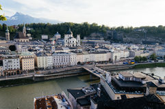 Cityscape of Salzburg at dusk Royalty Free Stock Images