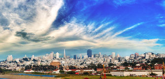 Cityscape of San Francisco and skyline in sunny day Royalty Free Stock Photo