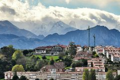 Cityscape of San Vicente de la Barquera city Spain Stock Images