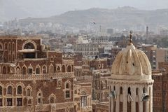 Cityscape of Sanaa - capital of Yemen Stock Photography