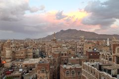 Cityscape of Sanna - capital of Yemen Royalty Free Stock Images