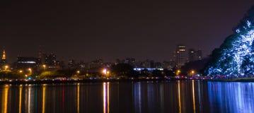 Cityscape, Sao paulo, night, reflected. Cityscape of sao paulo at night, reflected on the lake of ibirapuera park, with lit trees illuminated for xmas royalty free stock photos