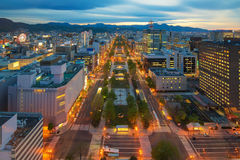 Cityscape of Sapporo at odori Park, Hokkaido, Japan Stock Images