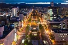 Cityscape of Sapporo at odori Park, Hokkaido, Japan.Sapporo is t Stock Photography