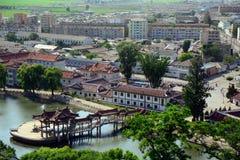Cityscape Sariwon, Nordkorea Royaltyfri Fotografi