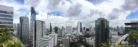 Cityscape of Sathorn Area in Bangkok. Panorama Royalty Free Stock Images