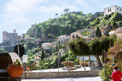 Cityscape of Savoca village in Sicily mountain Stock Images