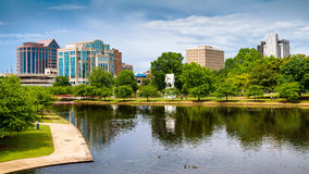 Cityscape scene of downtown Huntsville, Alabama. From Big Spring Park Royalty Free Stock Photo