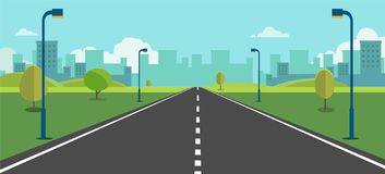 Cityscape scene with road , trees and sky background vector illustration.Main street to town concept.Urban scene. With nature background.Beautiful nature stock illustration