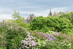 Cityscape Scottish Edinburgh seen from Princes Street Gardens. In springtime stock photo