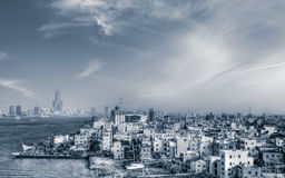 Cityscape of sea port Stock Images