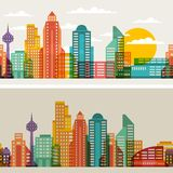 Cityscape seamless horizontal banners with Royalty Free Stock Photos