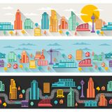 Cityscape seamless horizontal banners with Stock Photos