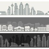 Cityscape seamless horizontal banners with Stock Image