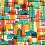 Cityscape seamless pattern with buildings Royalty Free Stock Images