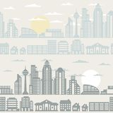 Cityscape seamless pattern with buildings Stock Photos