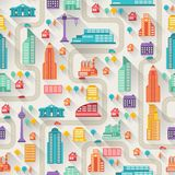 Cityscape seamless pattern with buildings Royalty Free Stock Photos