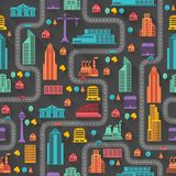 Cityscape seamless pattern with buildings Royalty Free Stock Photo