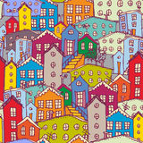 Cityscape seamless pattern. Sketch. orange, blue, purple.  Royalty Free Stock Images