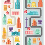 Cityscape seamless vertical banners with buildings Stock Photos